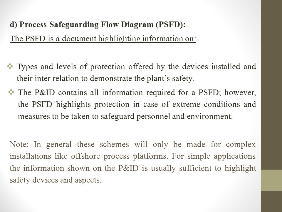 d) Process Safeguarding Flow Diagram (PSFD):