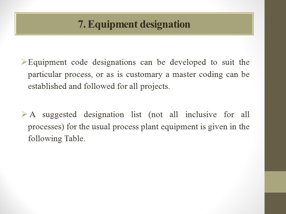 7. Equipment designation