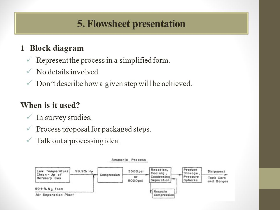 5. Flowsheet presentation