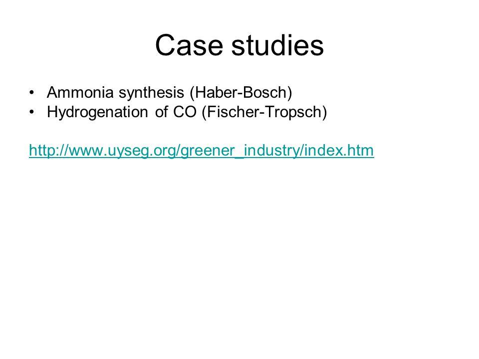 Case studies Ammonia synthesis (Haber-Bosch)