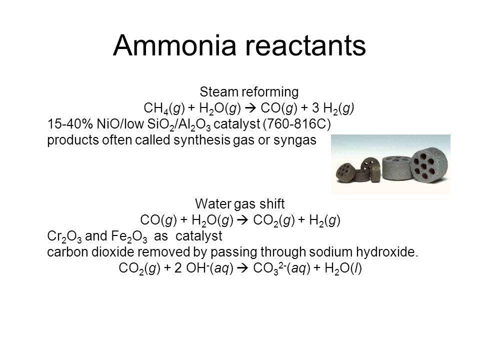 Ammonia reactants Steam reforming CH4(g) + H2O(g)  CO(g) + 3 H2(g)