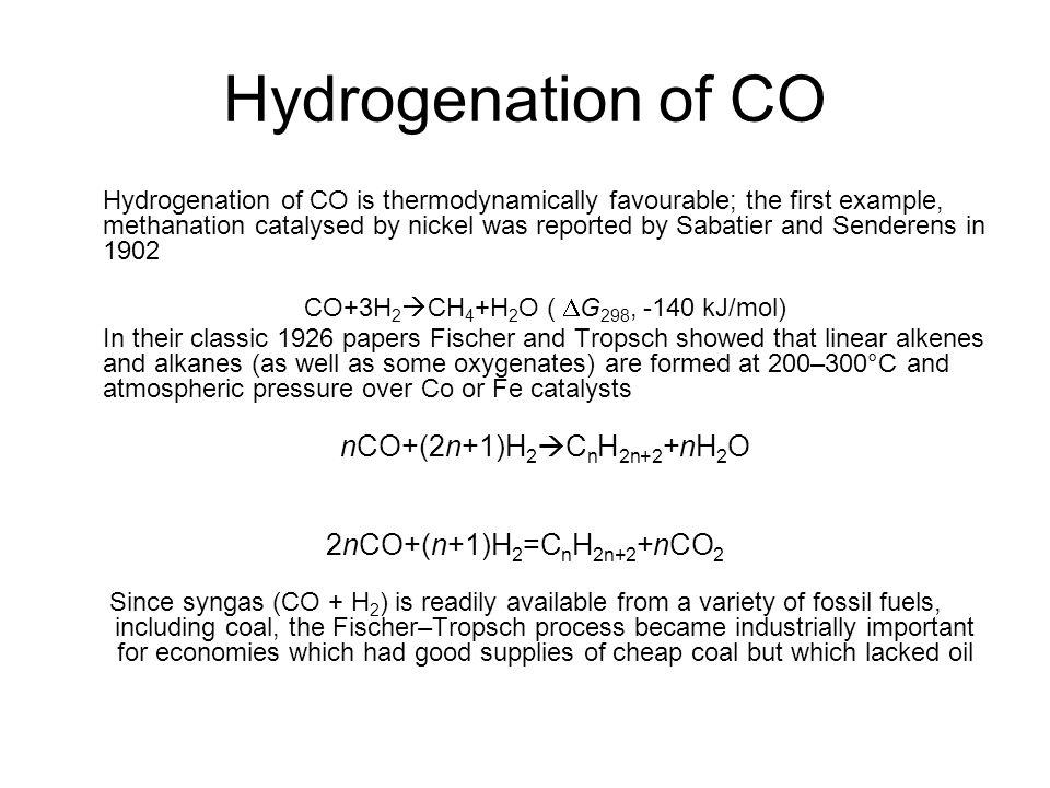 CO+3H2CH4+H2O ( DG298, -140 kJ/mol)