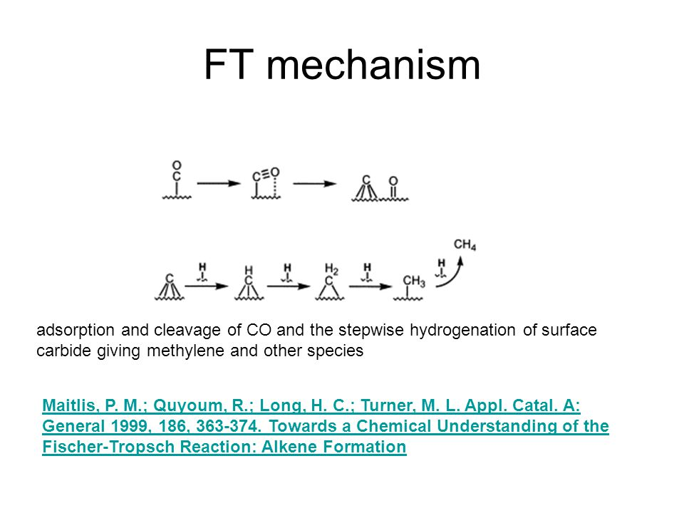 FT mechanism adsorption and cleavage of CO and the stepwise hydrogenation of surface carbide giving methylene and other species.