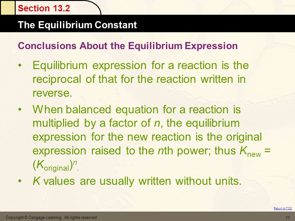 Conclusions About the Equilibrium Expression