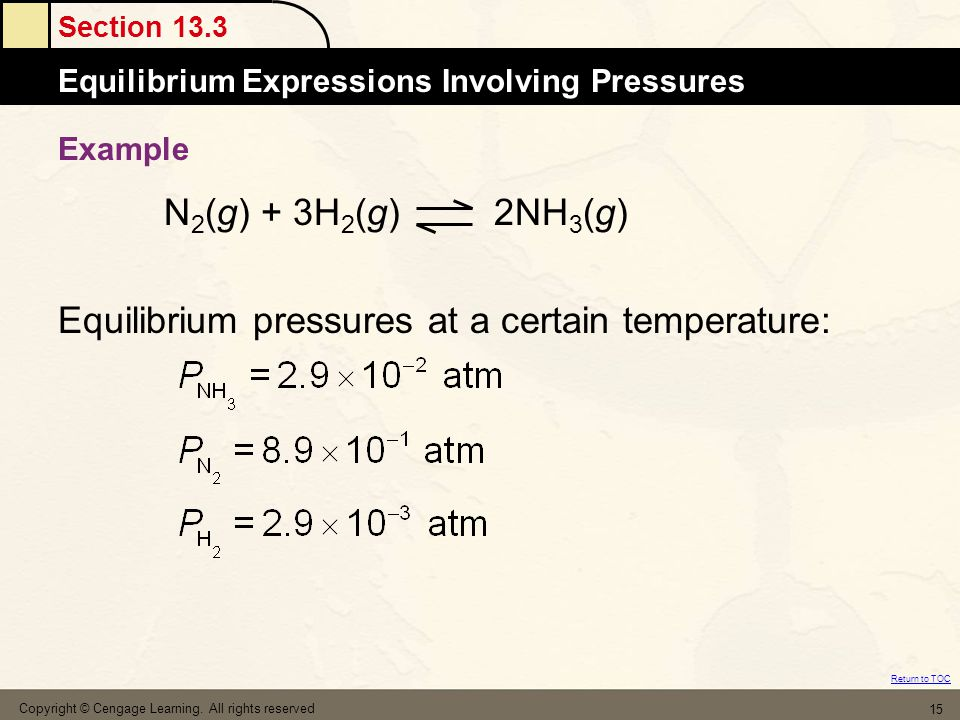 Equilibrium pressures at a certain temperature: