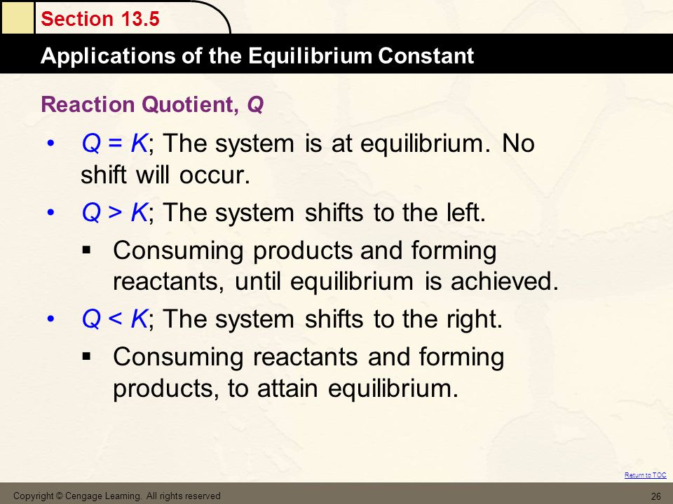 Q = K; The system is at equilibrium. No shift will occur.