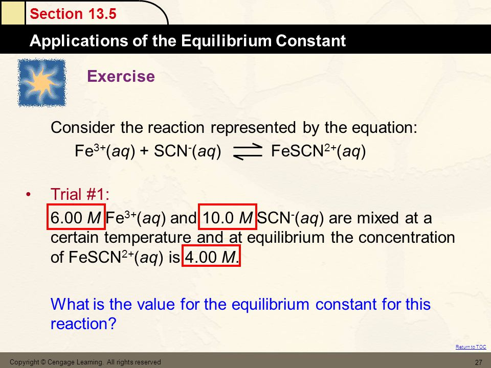 Consider the reaction represented by the equation: