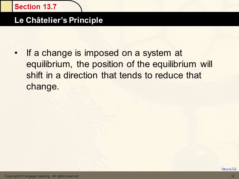 If a change is imposed on a system at equilibrium, the position of the equilibrium will shift in a direction that tends to reduce that change.