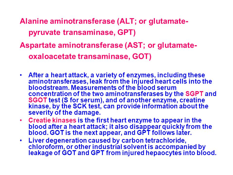 Alanine aminotransferase (ALT; or glutamate-pyruvate transaminase, GPT)