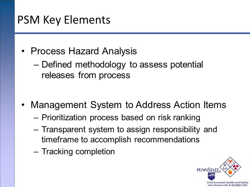 PSM Key Elements Process Hazard Analysis