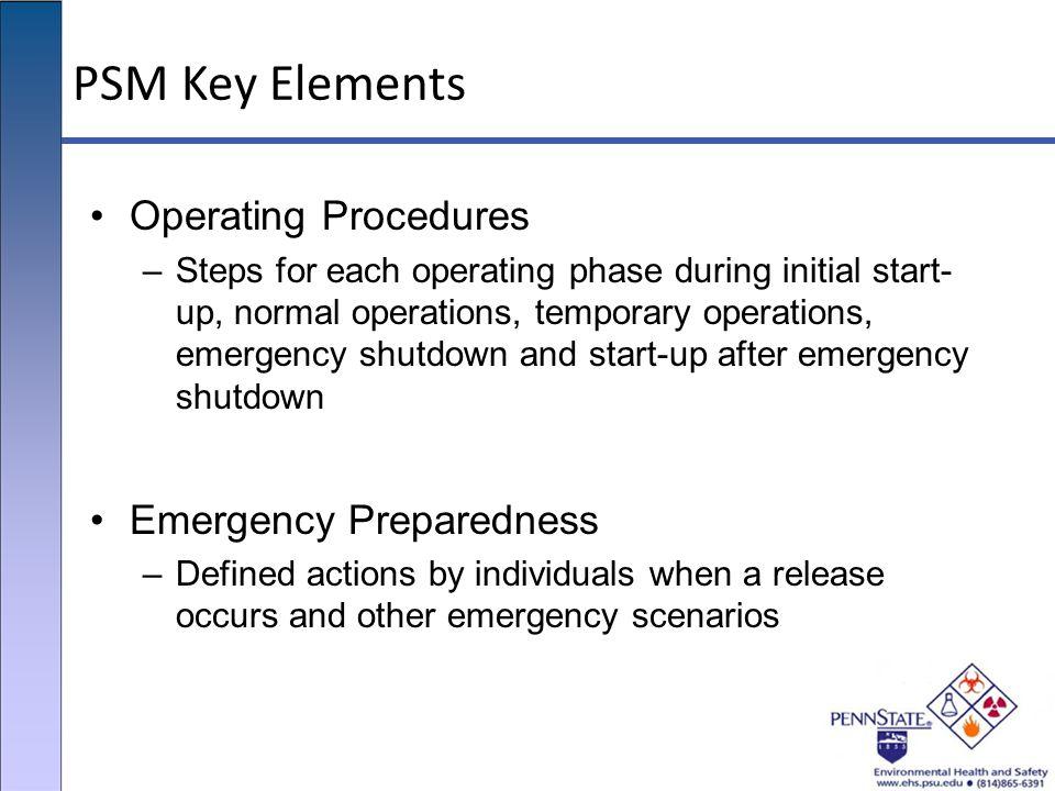 PSM Key Elements Operating Procedures Emergency Preparedness