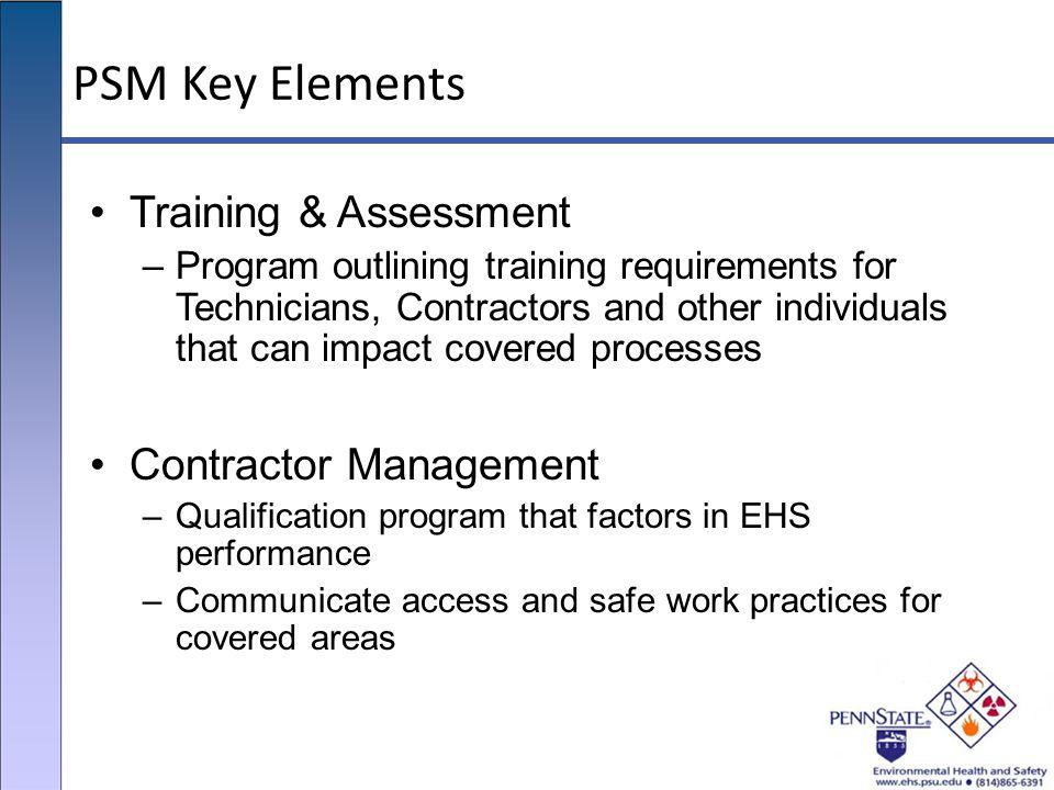 PSM Key Elements Training & Assessment Contractor Management