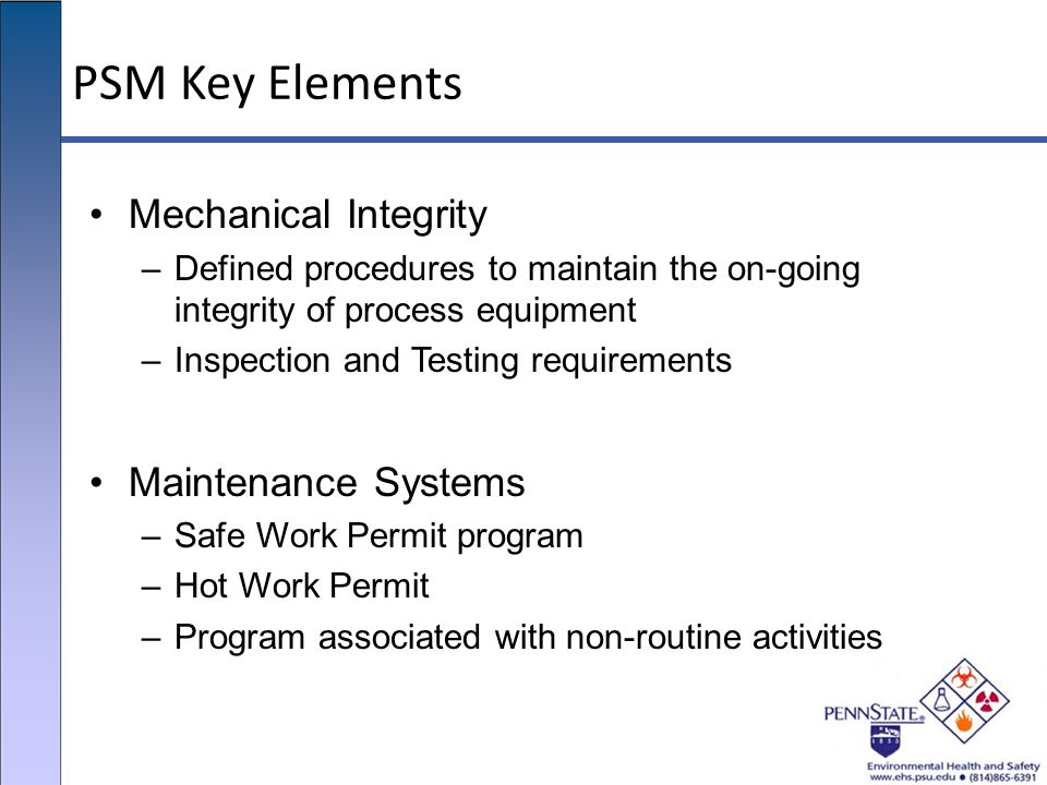 PSM Key Elements Mechanical Integrity Maintenance Systems