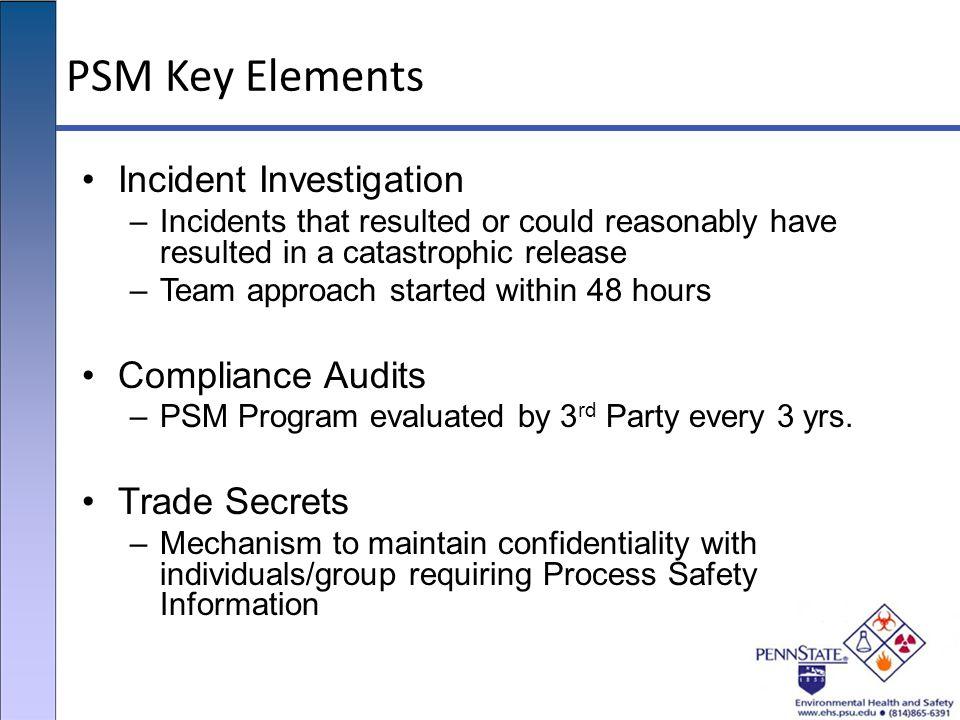 PSM Key Elements Incident Investigation Compliance Audits