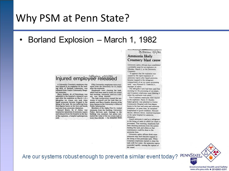 Why PSM at Penn State Borland Explosion – March 1, 1982