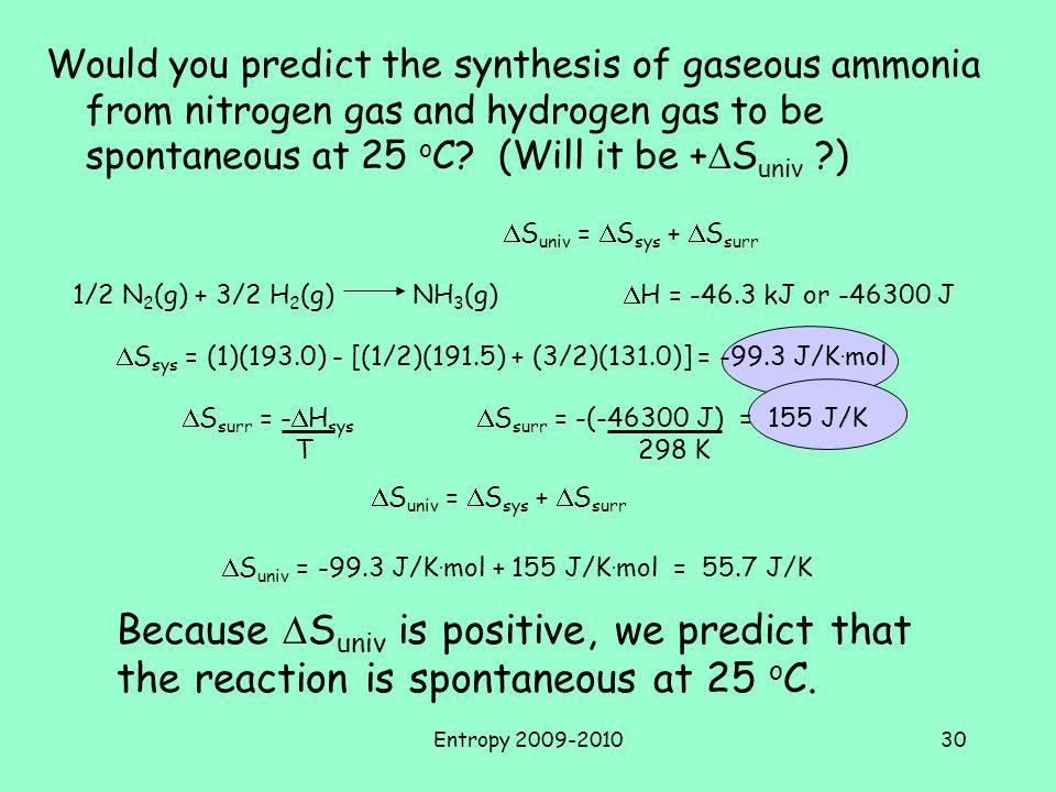 Would you predict the synthesis of gaseous ammonia from nitrogen gas and hydrogen gas to be spontaneous at 25 oC (Will it be +DSuniv )