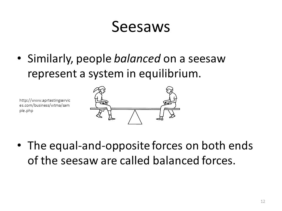 Seesaws Similarly, people balanced on a seesaw represent a system in equilibrium.