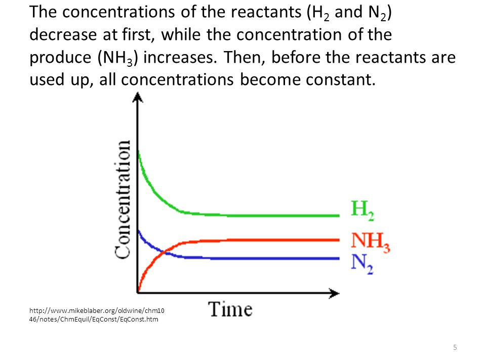 The concentrations of the reactants (H2 and N2) decrease at first, while the concentration of the produce (NH3) increases. Then, before the reactants are used up, all concentrations become constant.