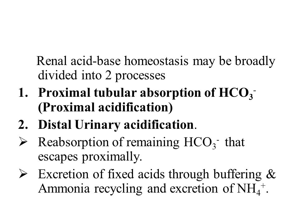 Renal acid-base homeostasis may be broadly divided into 2 processes