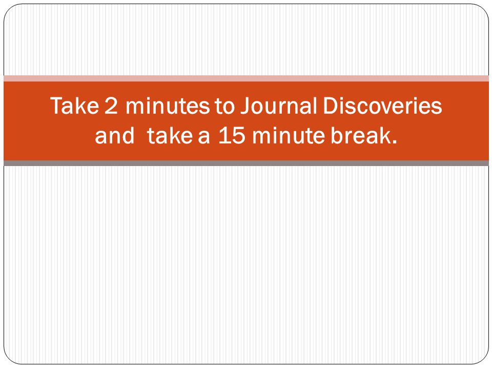 Take 2 minutes to Journal Discoveries and take a 15 minute break.