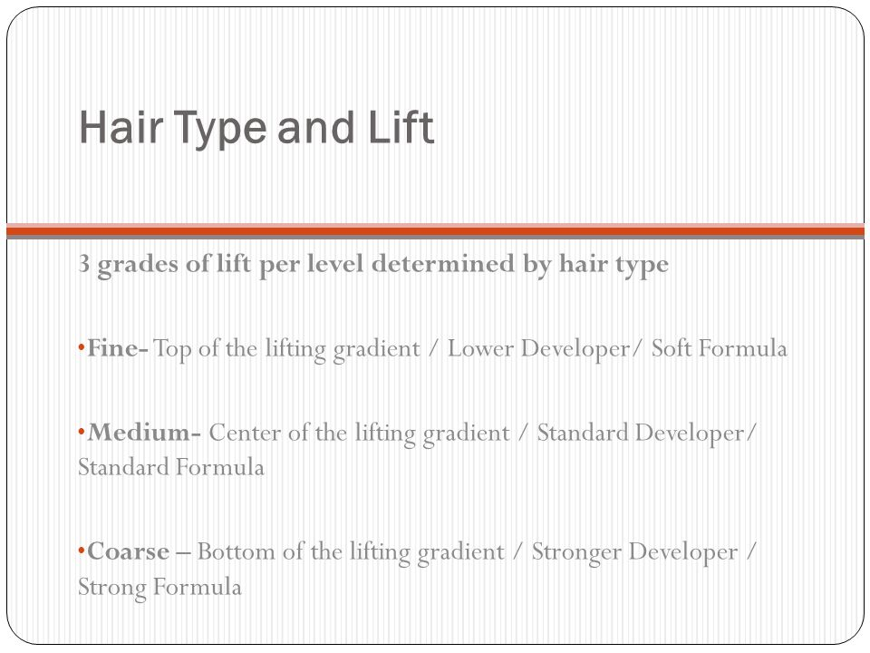 Hair Type and Lift 3 grades of lift per level determined by hair type
