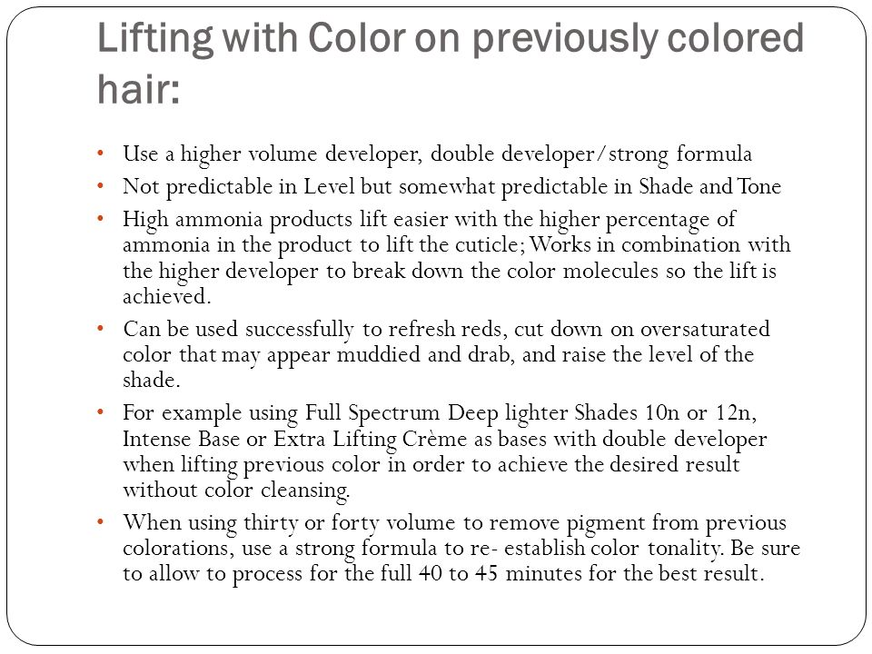 Lifting with Color on previously colored hair:
