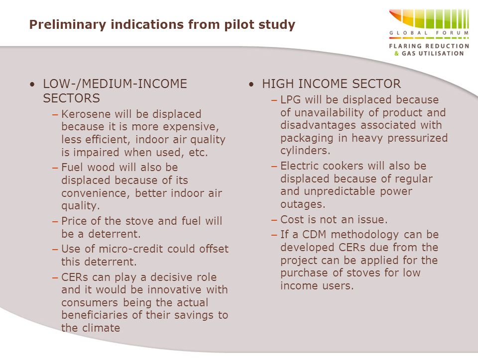 Preliminary indications from pilot study