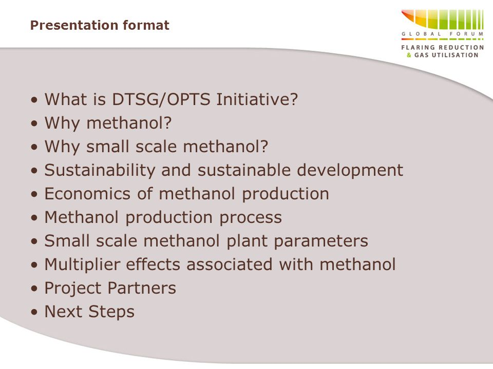 What is DTSG/OPTS Initiative Why methanol Why small scale methanol