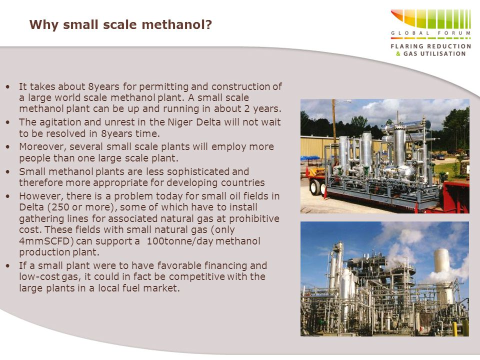 Why small scale methanol