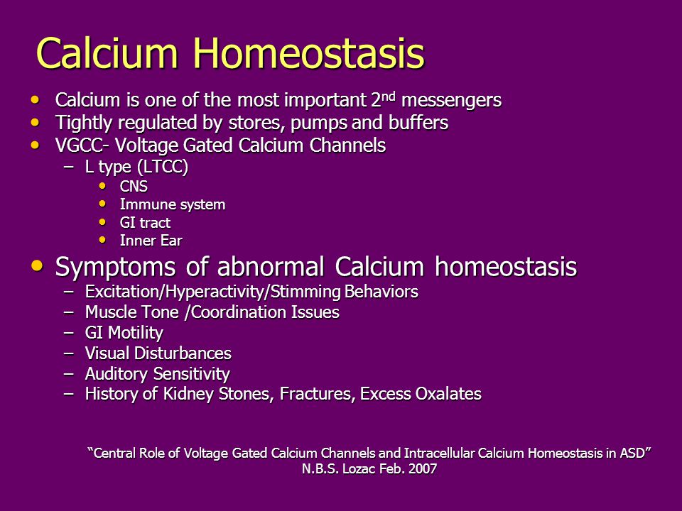 Calcium Homeostasis Symptoms of abnormal Calcium homeostasis