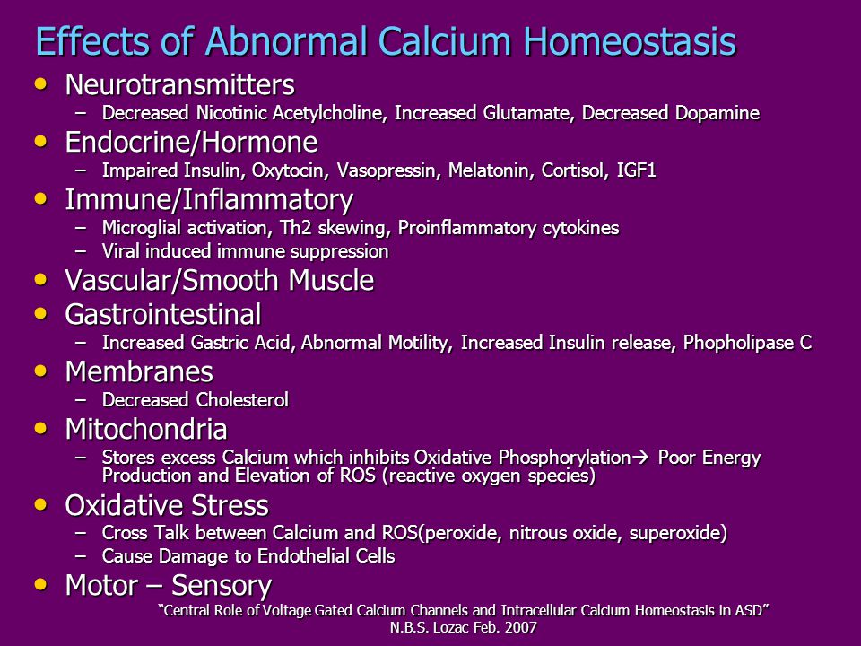 Effects of Abnormal Calcium Homeostasis