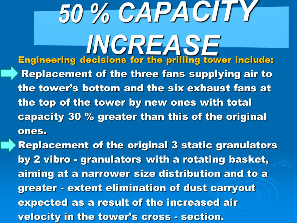 50 % CAPACITY INCREASE Replacement of the three fans supplying air to