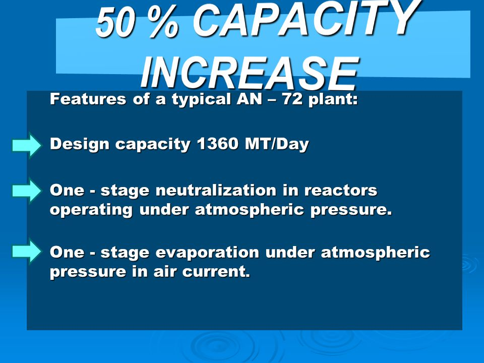 50 % CAPACITY INCREASE Features of a typical AN – 72 plant: Design capacity 1360 MT/Day.