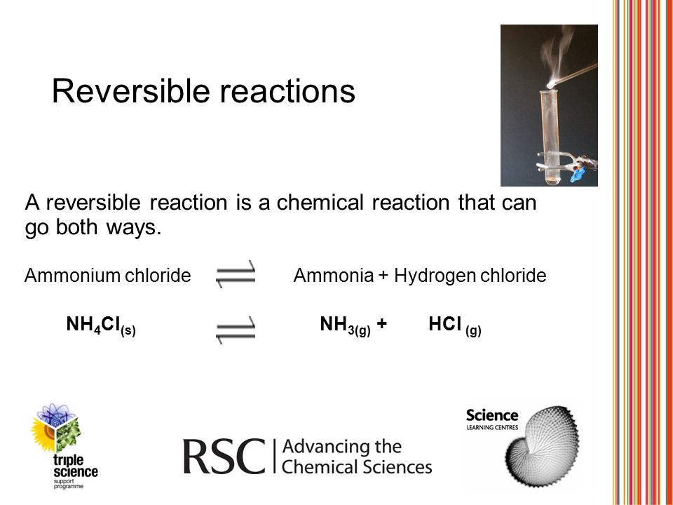 Reversible reactions A reversible reaction is a chemical reaction that can go both ways. Ammonium chloride Ammonia + Hydrogen chloride.