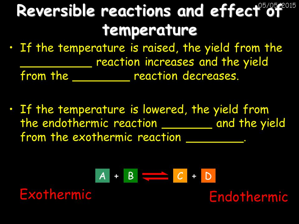 Reversible reactions and effect of temperature
