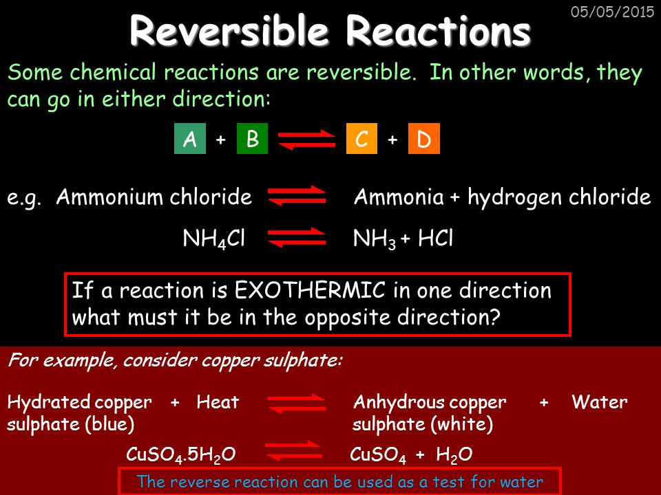 The reverse reaction can be used as a test for water