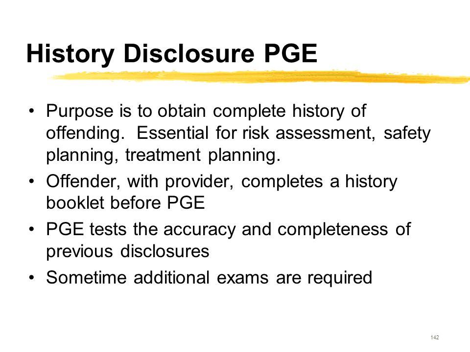 History Disclosure PGE
