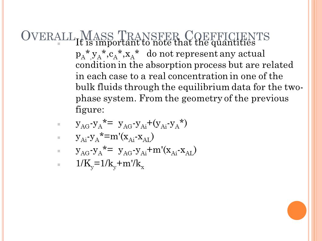 Overall Mass Transfer Coefficients