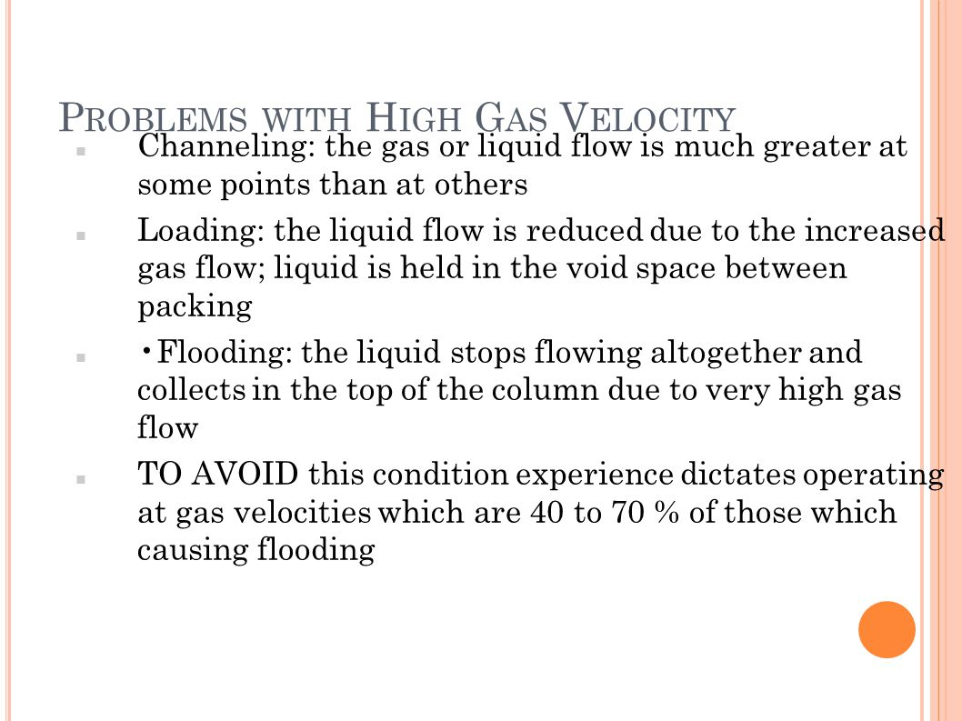 Problems with High Gas Velocity