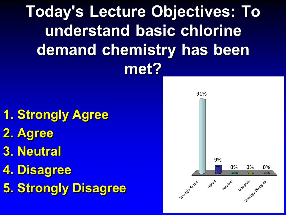 Today s Lecture Objectives: To understand basic chlorine demand chemistry has been met