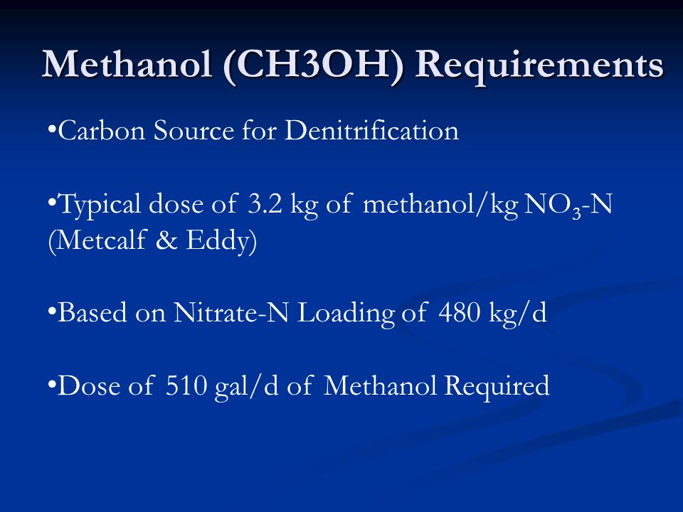 Methanol (CH3OH) Requirements