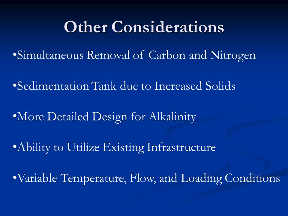 Other Considerations Simultaneous Removal of Carbon and Nitrogen