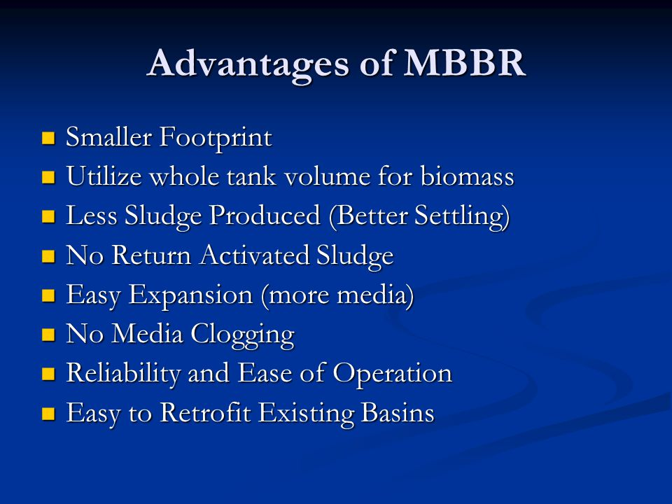 Advantages of MBBR Smaller Footprint