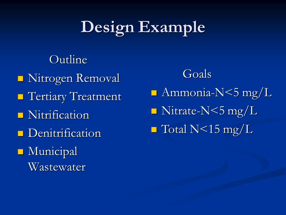 Design Example Outline Nitrogen Removal Goals Tertiary Treatment