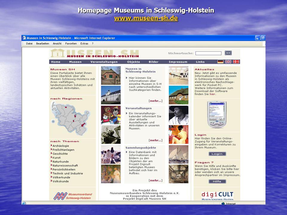 Homepage Museums in Schleswig-Holstein www.museen-sh.de