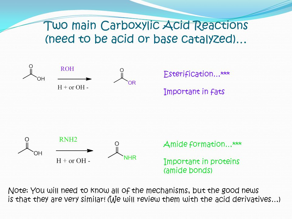 Two main Carboxylic Acid Reactions (need to be acid or base catalyzed)…