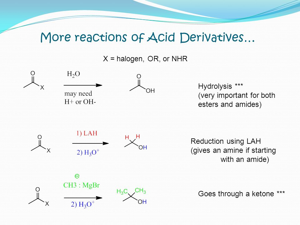More reactions of Acid Derivatives…