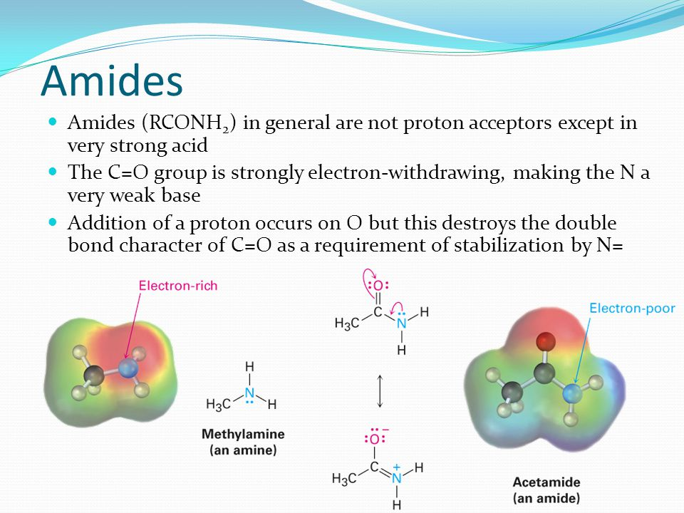 Amides Amides (RCONH2) in general are not proton acceptors except in very strong acid.