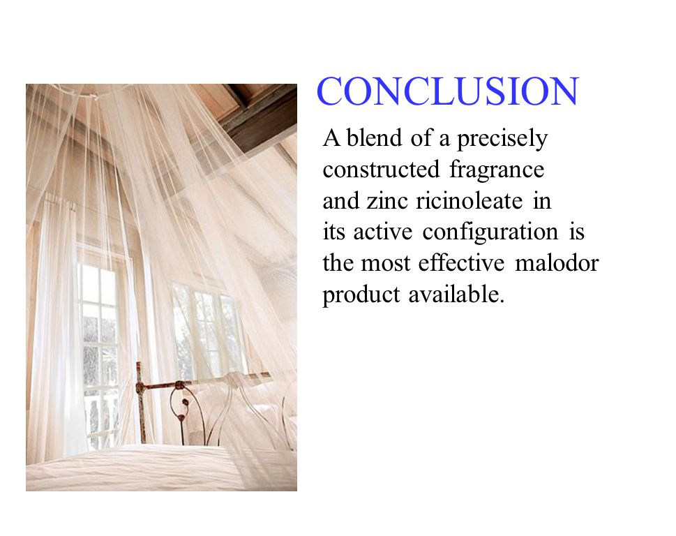 CONCLUSION A blend of a precisely constructed fragrance