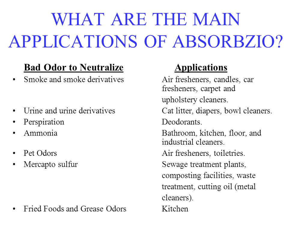 WHAT ARE THE MAIN APPLICATIONS OF ABSORBZIO